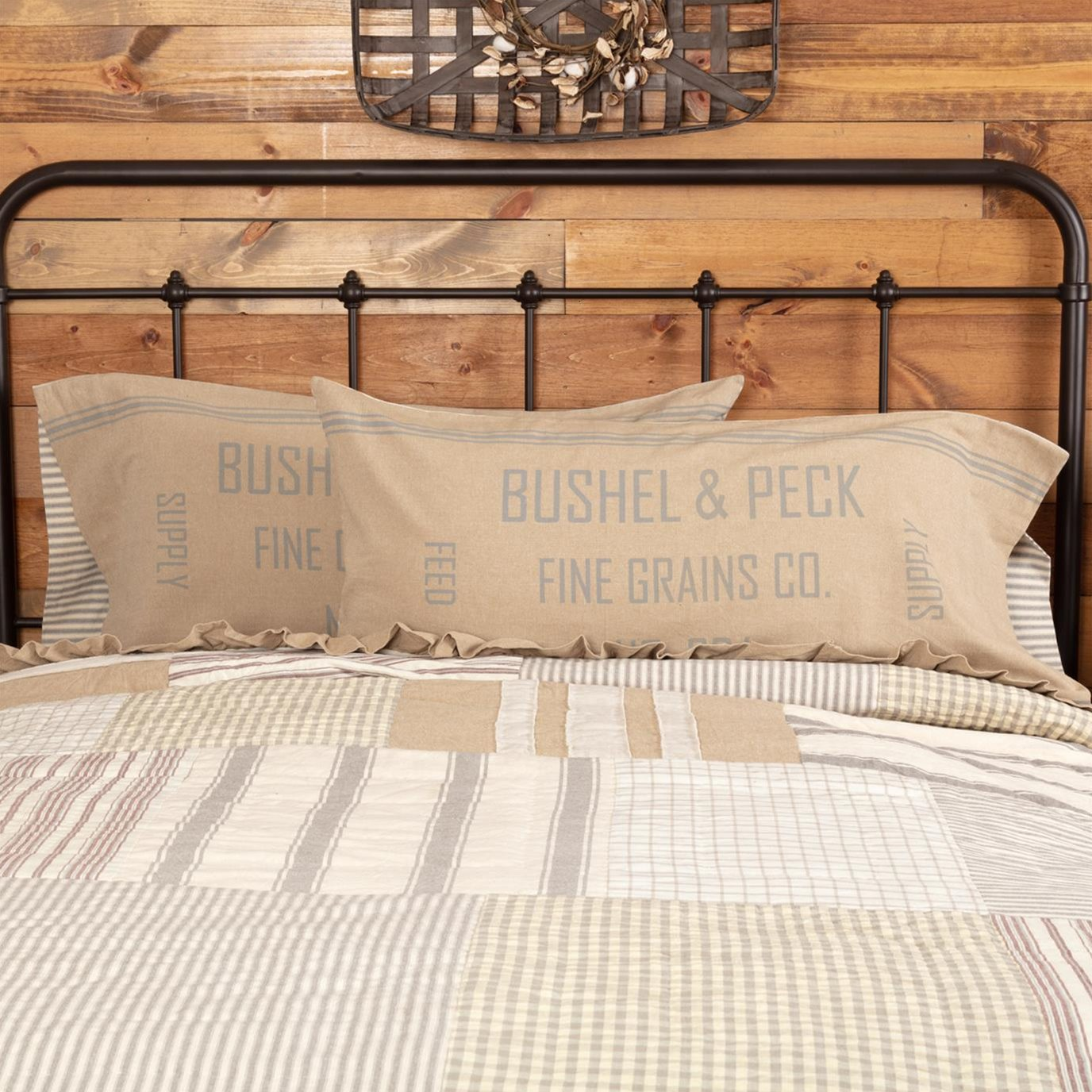Grace Feed Sack King Pillow Case Set of 2 21x40