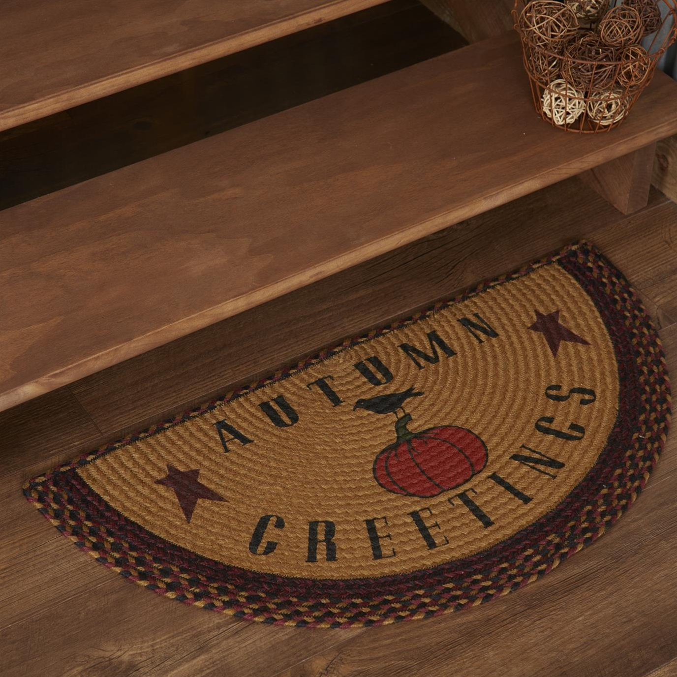 Heritage Farms Harvest Jute Rug Half Circle Autumn Greetings 16.5x33