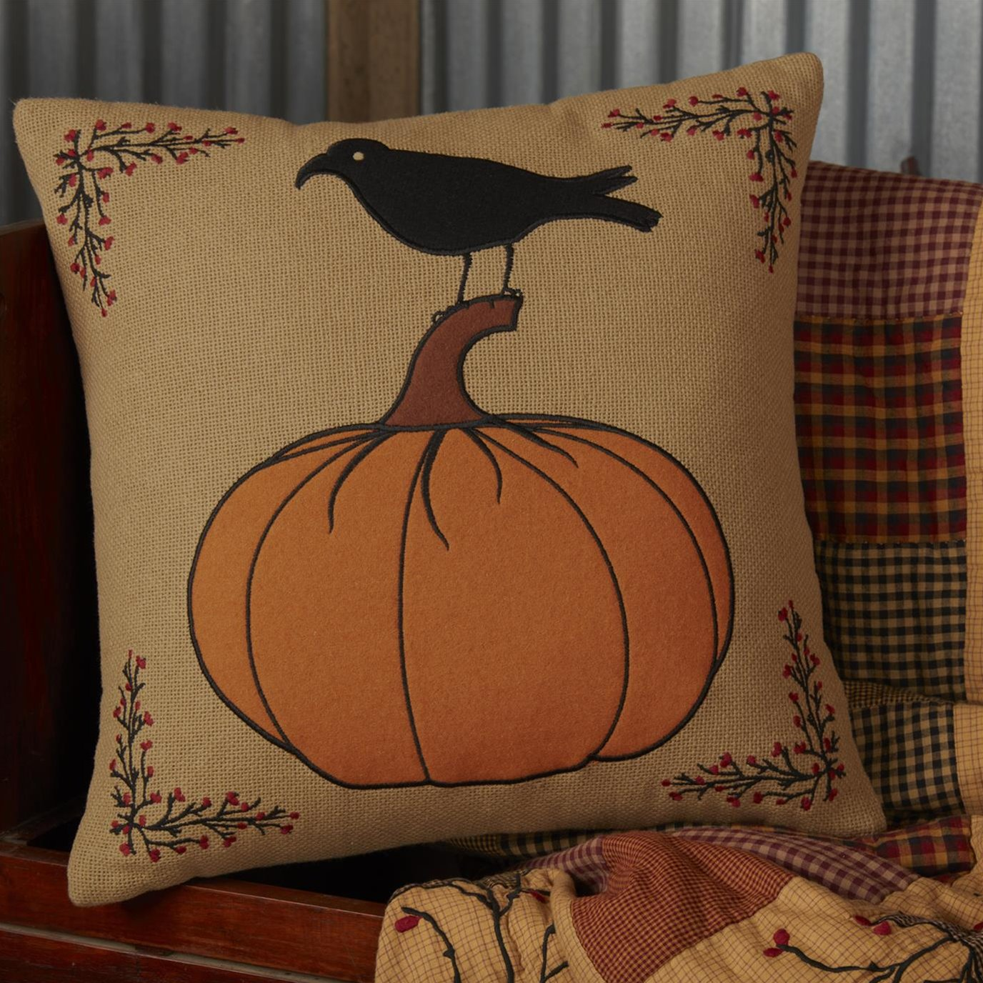 Heritage Farms Pumpkin and Crow Pillow 18x18