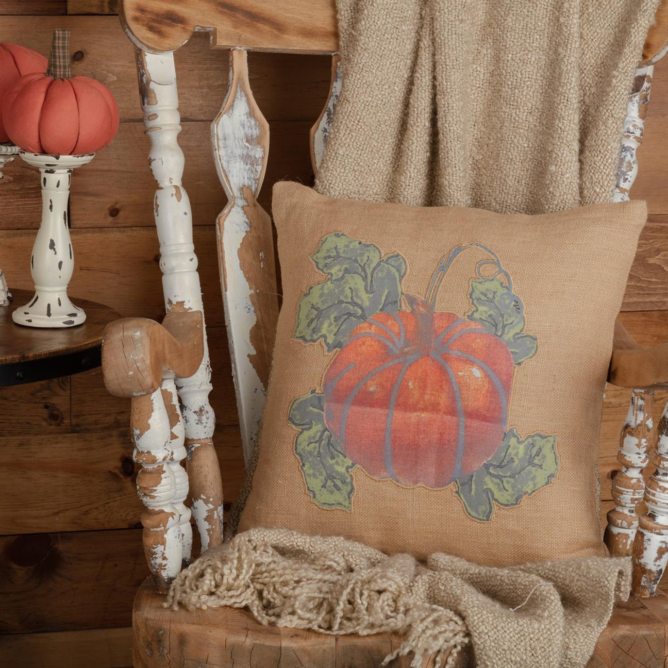 Jute Burlap Natural Harvest Garden Pumpkin Pillow 18x18