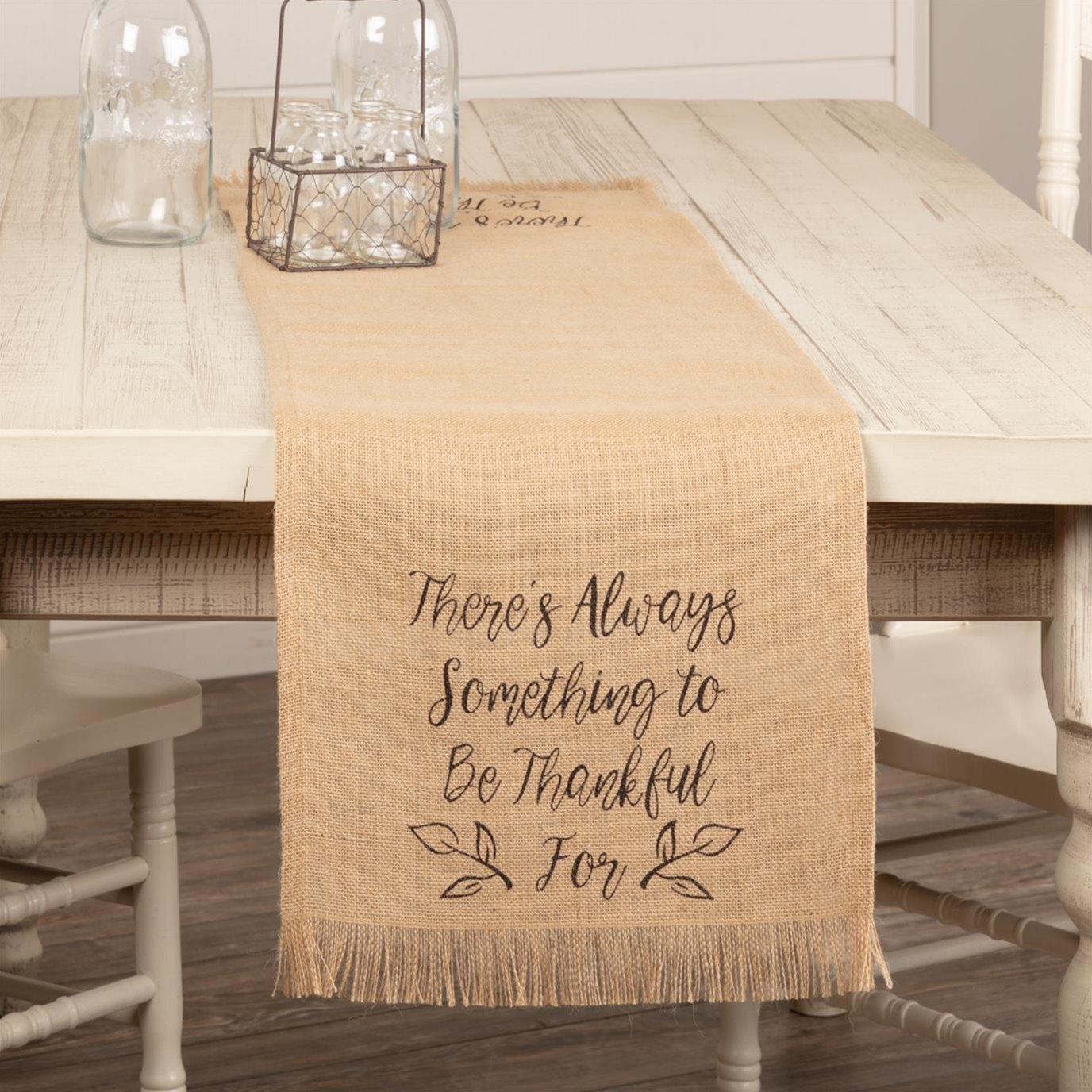 Jute Burlap Natural Thankful Runner 13x48