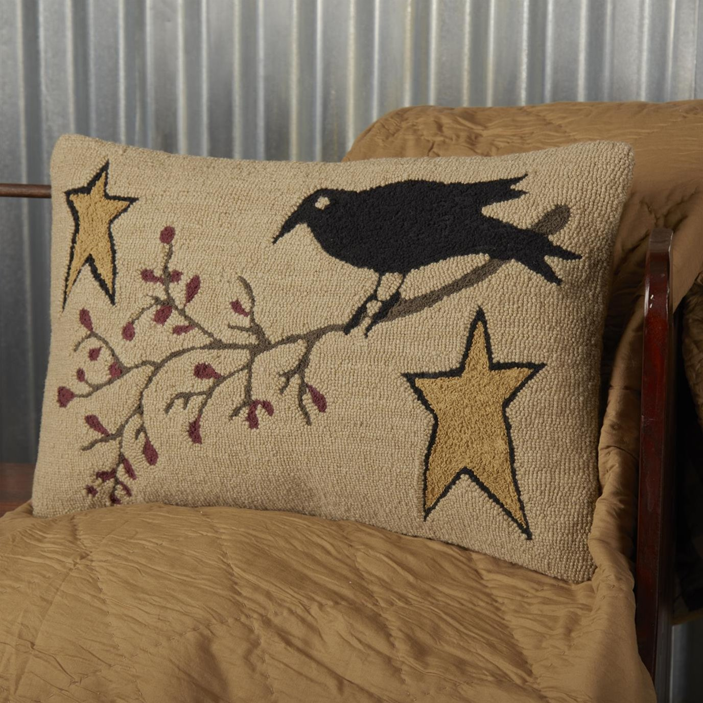 Kettle Grove Crow and Star Hooked Pillow 14x22