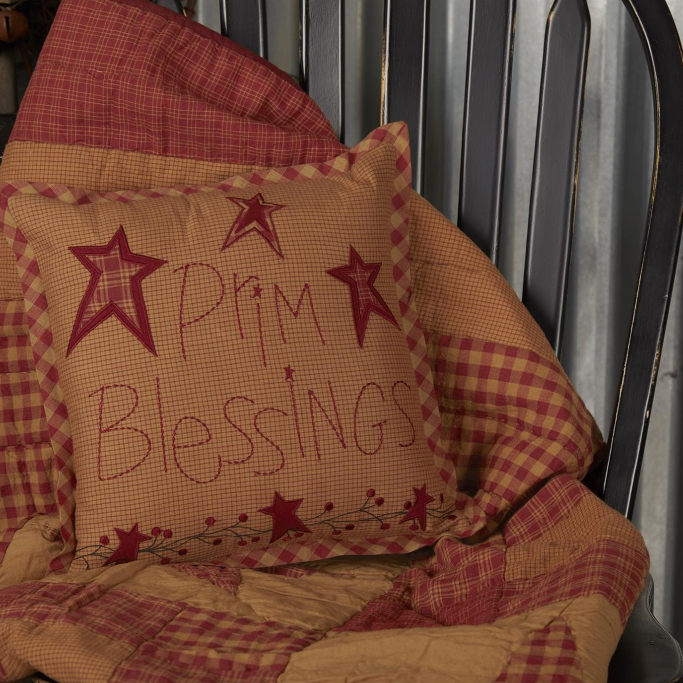 Ninepatch Star Prim Blessings Pillow 12x12