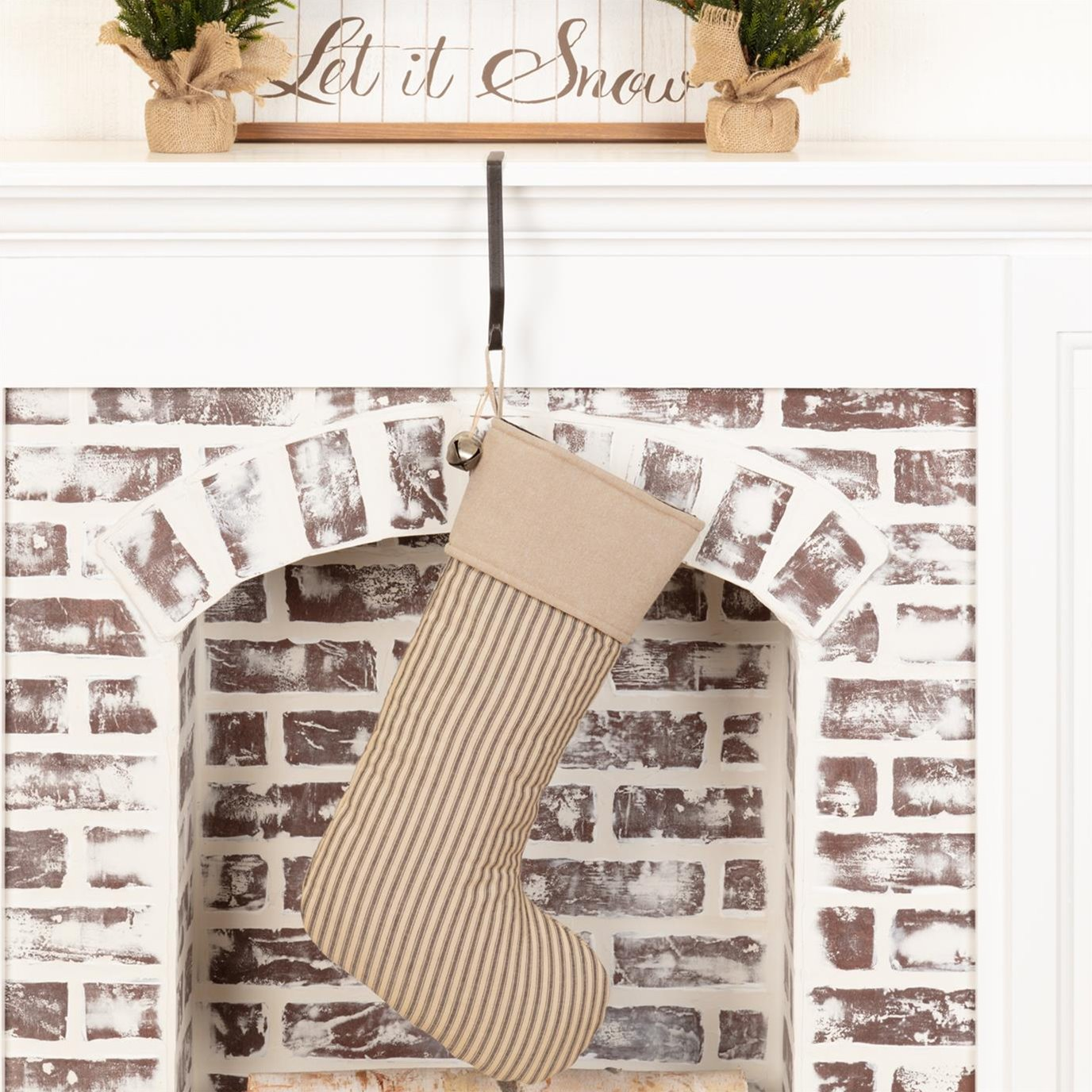 Sawyer Mill Charcoal Ticking Stripe Stocking 12x20
