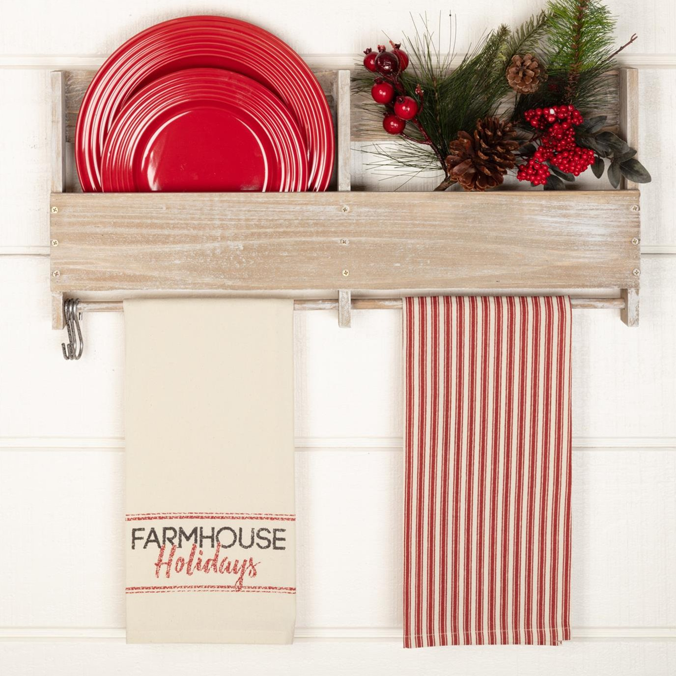 Sawyer Mill Red Farmhouse Holidays Unbleached Natural Muslin Tea Towel Set of 2 19x28