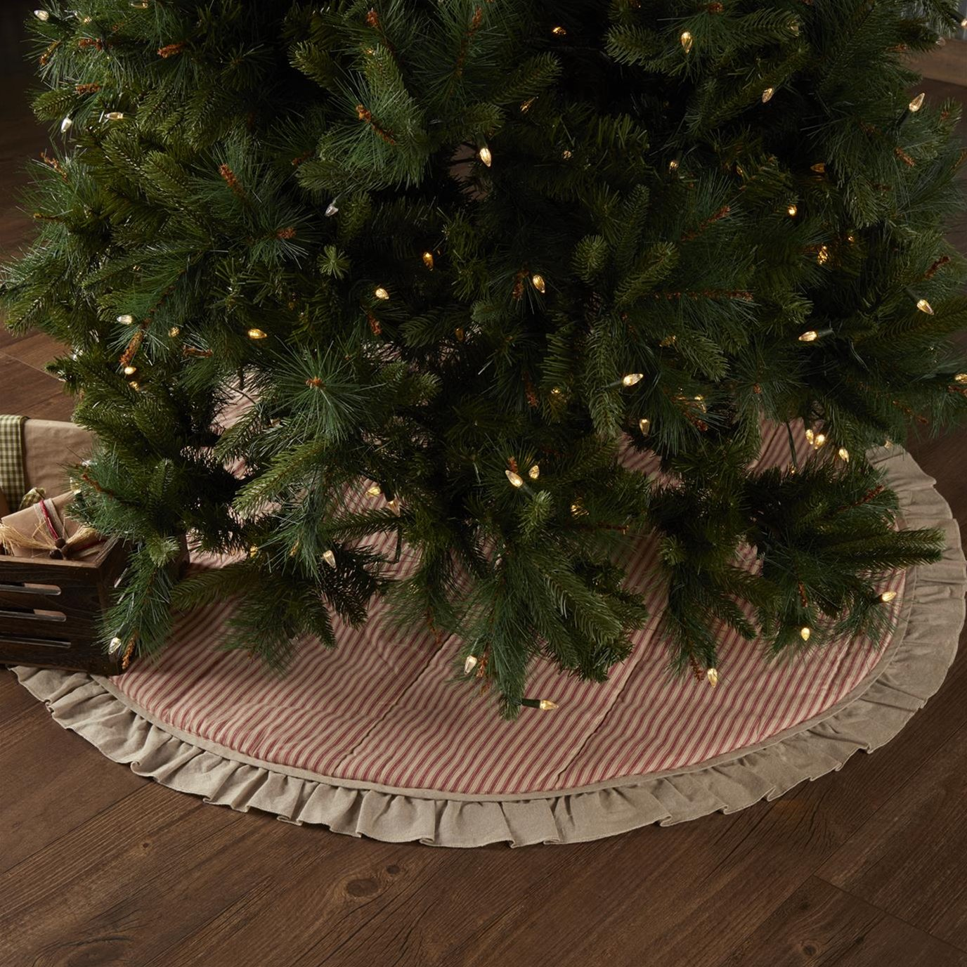 Sawyer Mill Red Ticking Stripe Tree Skirt 48