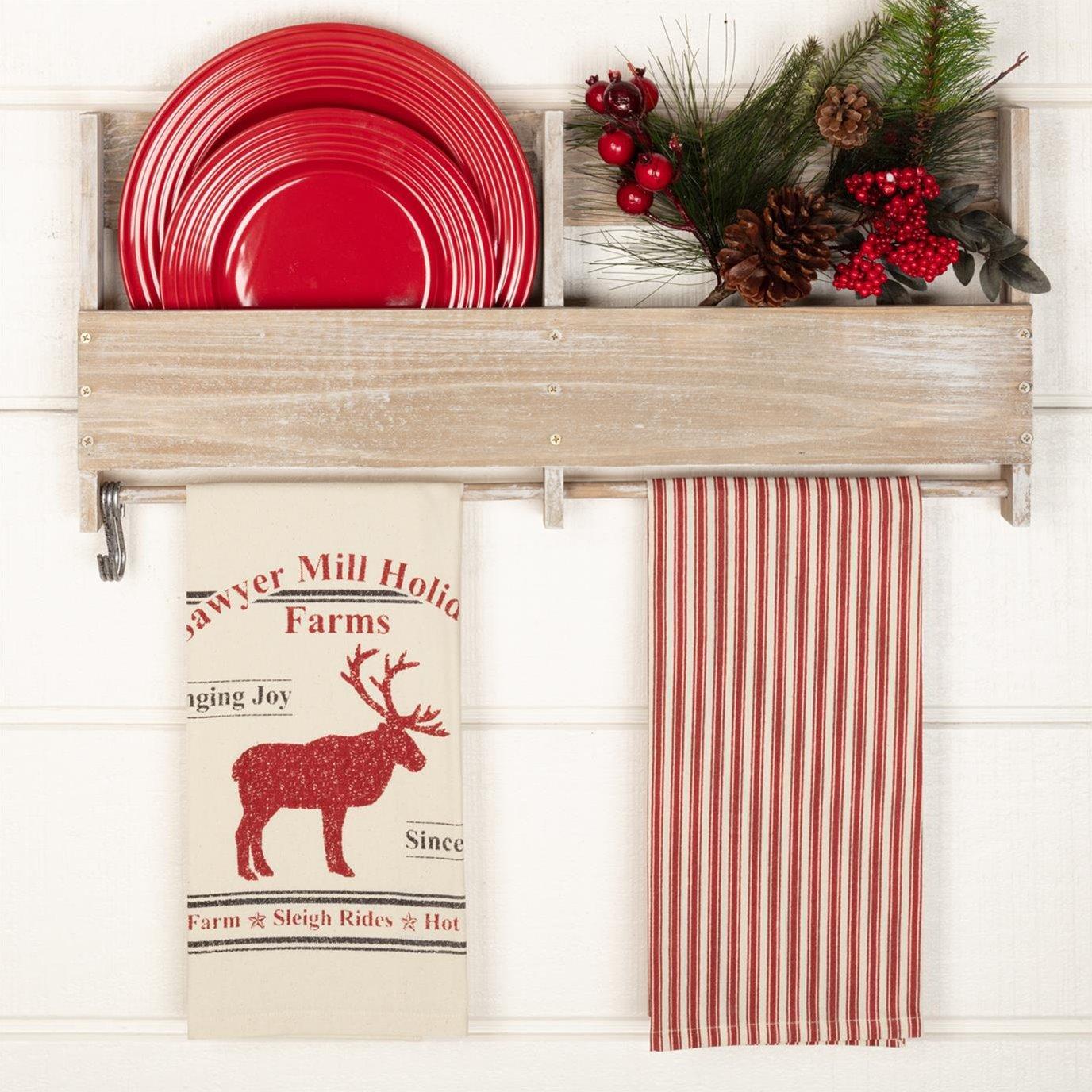 Sawyer Mill Reindeer Unbleached Natural Muslin Tea Towel Set of 2 19x28