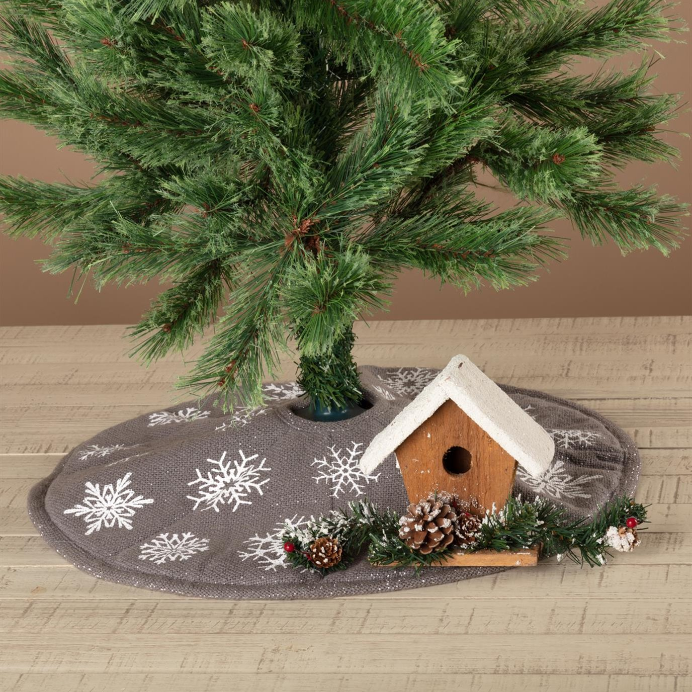Snowflake Burlap Grey Mini Tree Skirt 21