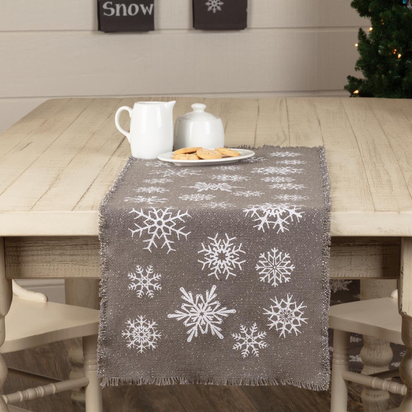 Snowflake Burlap Grey Runner 13x36