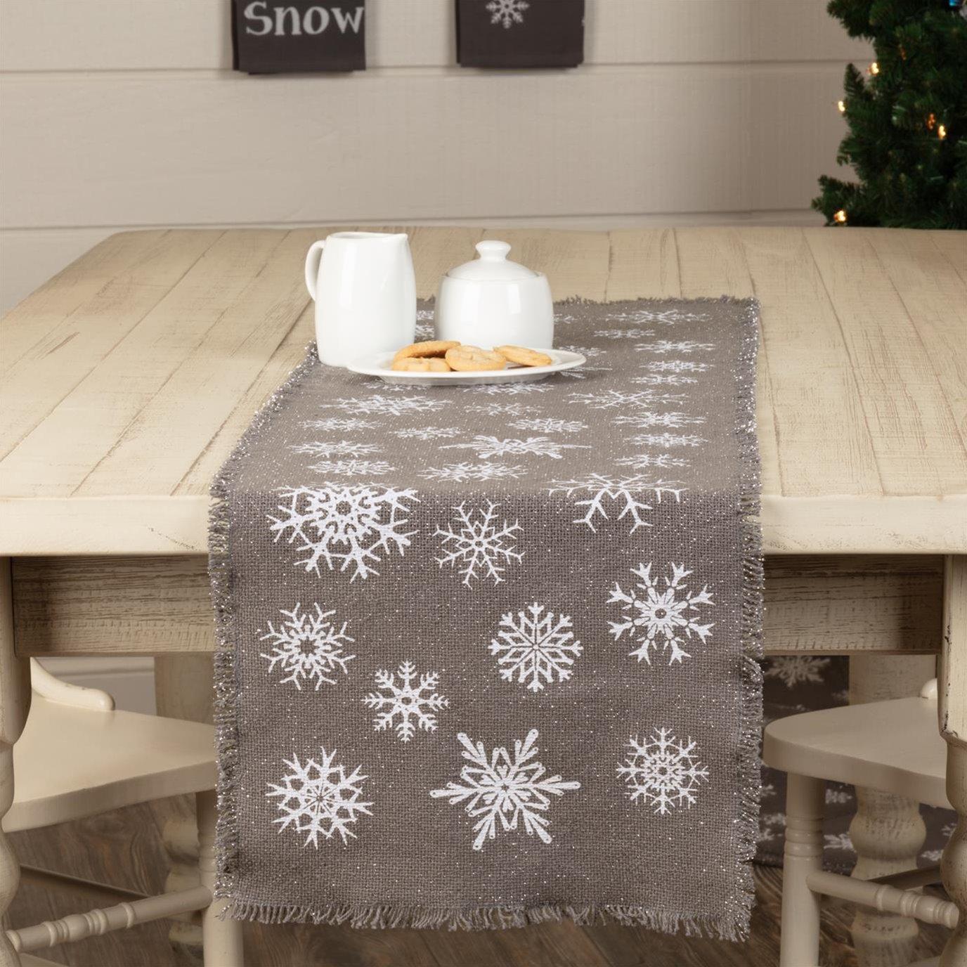 Snowflake Burlap Grey Runner 13x48