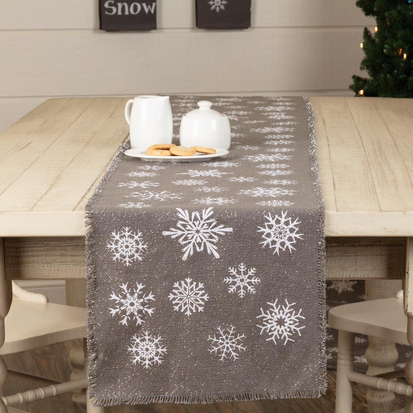 Snowflake Burlap Grey Runner 13x90