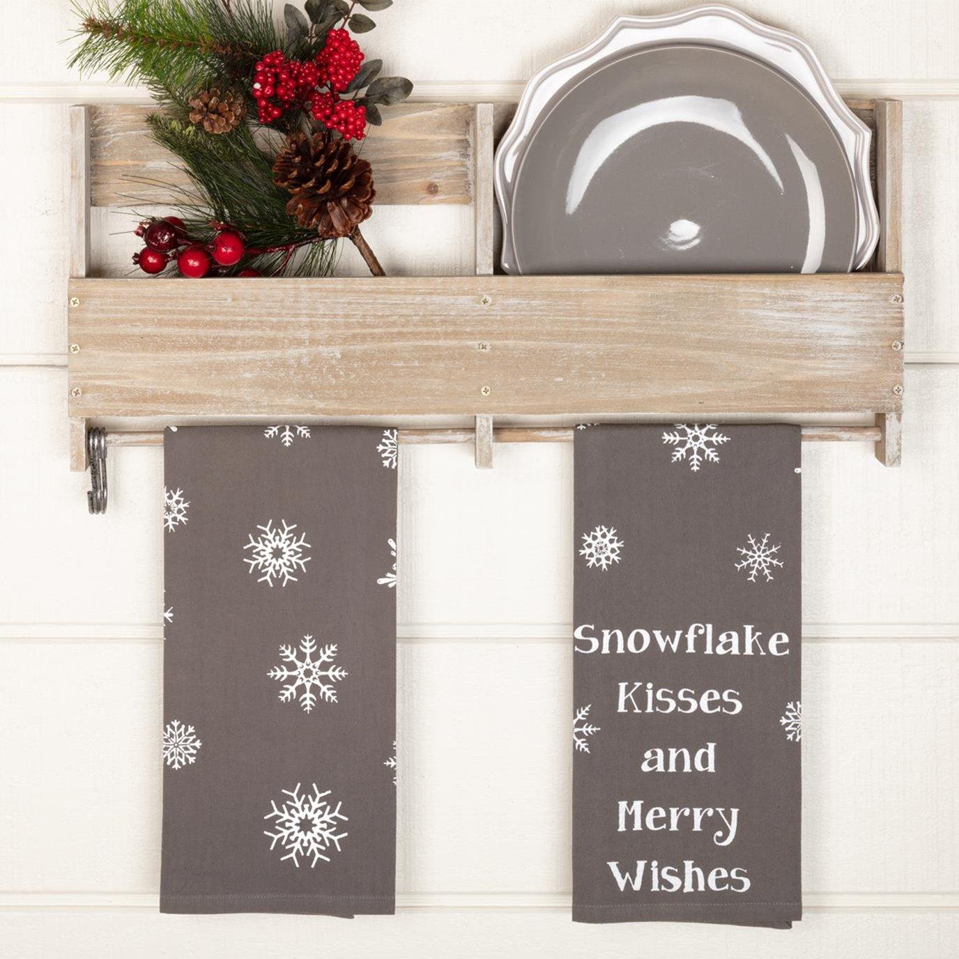 Snowflake Burlap Grey Snowflake Kisses Tea Towel Set of 2 19x28