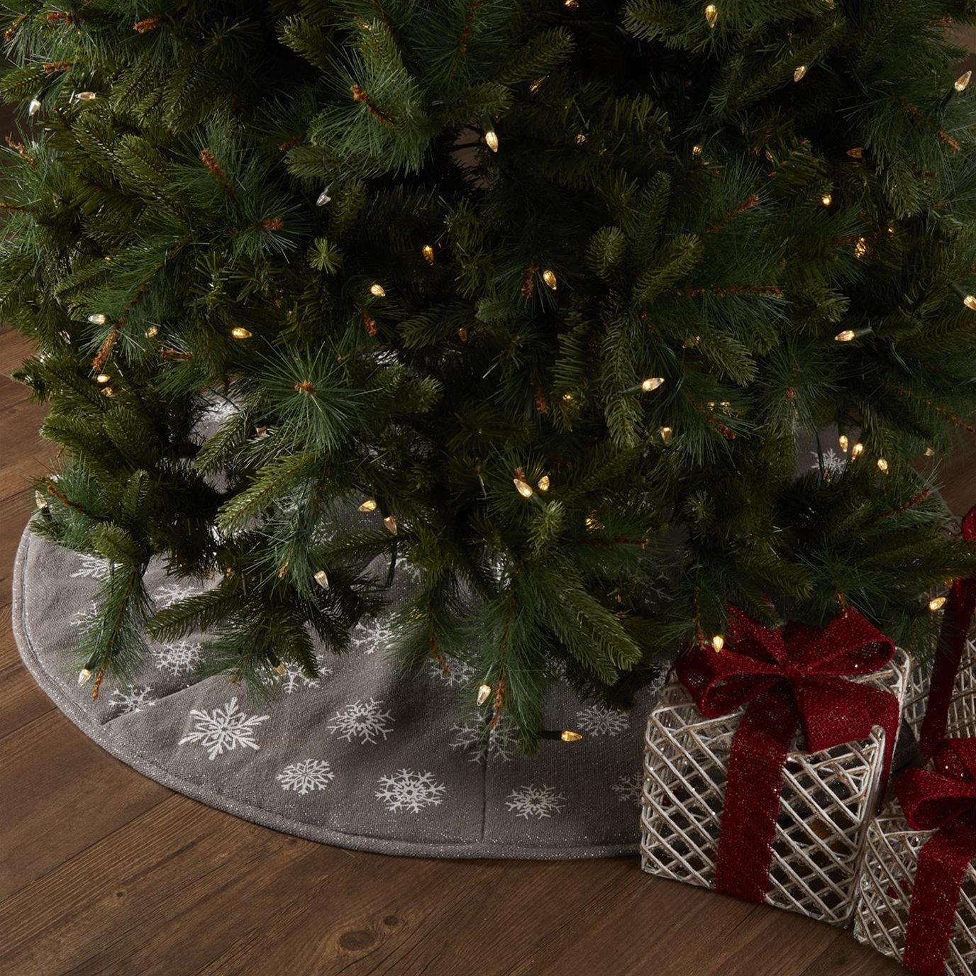 Snowflake Burlap Grey Tree Skirt 48