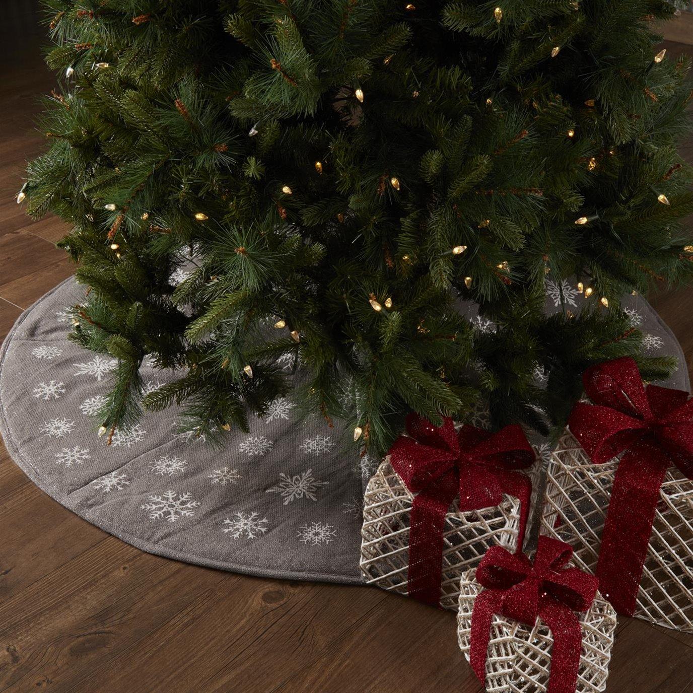 Snowflake Burlap Grey Tree Skirt 55