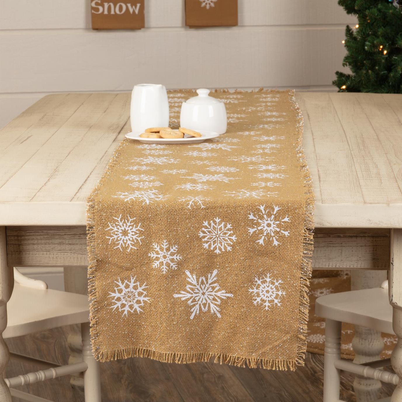 Snowflake Burlap Natural Runner 13x72