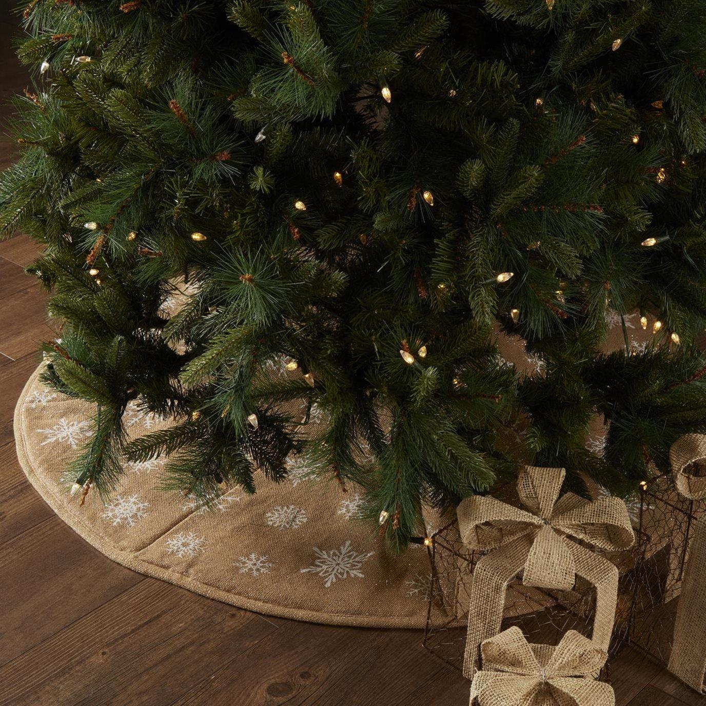 Snowflake Burlap Natural Tree Skirt 48