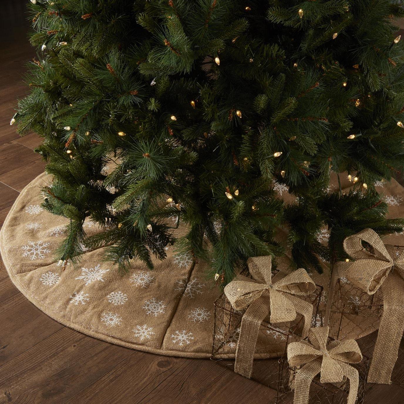 Snowflake Burlap Natural Tree Skirt 55