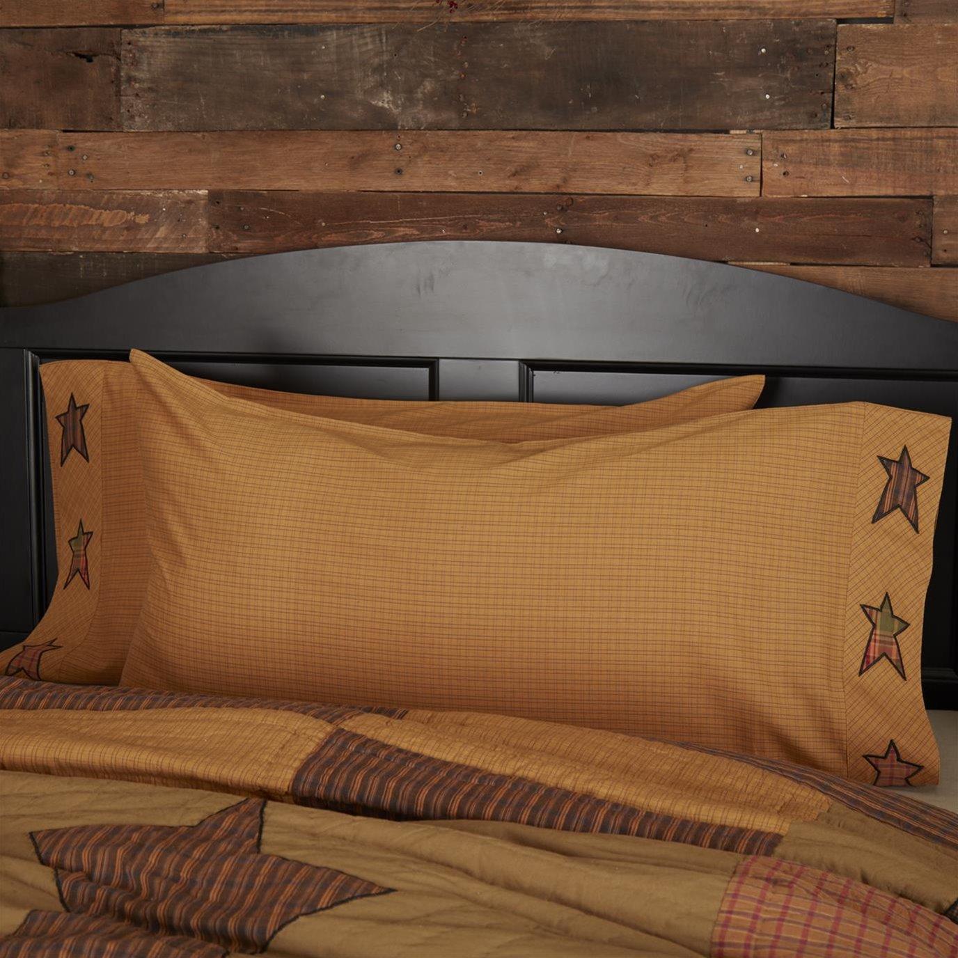 Stratton King Pillow Case w/Applique Star Set of 2 21x40