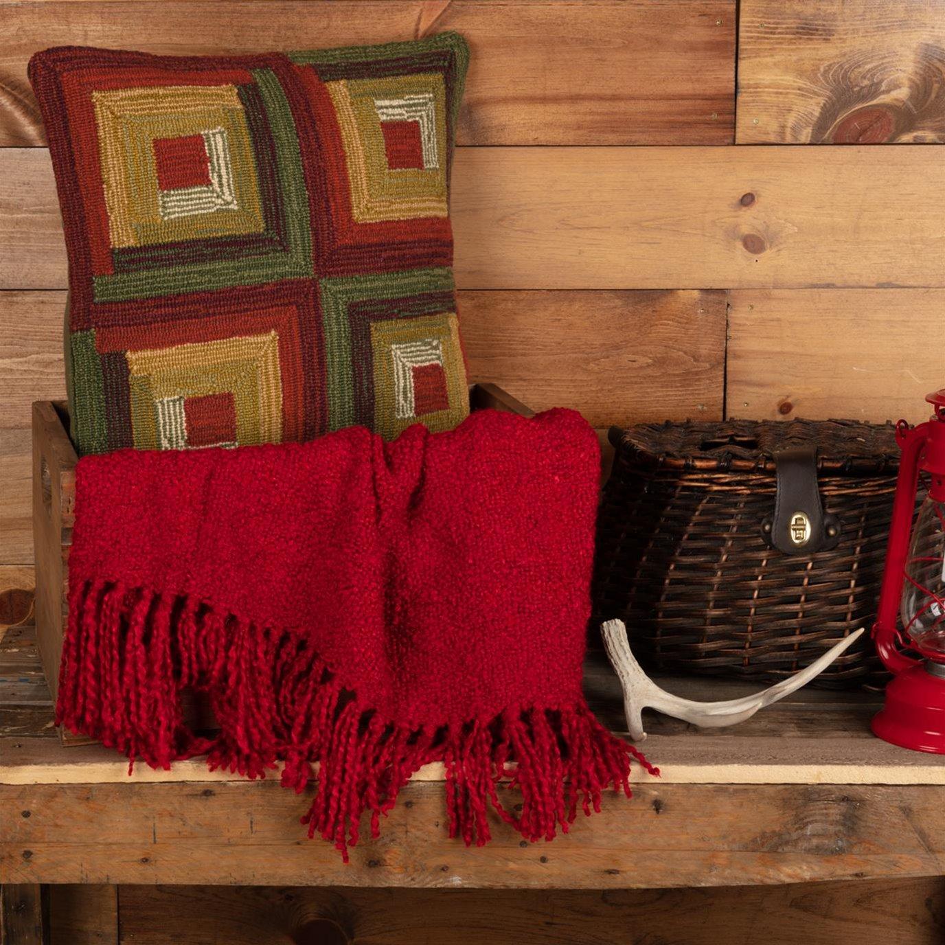 Tea Cabin Log Cabin Hooked Pillow 18x18