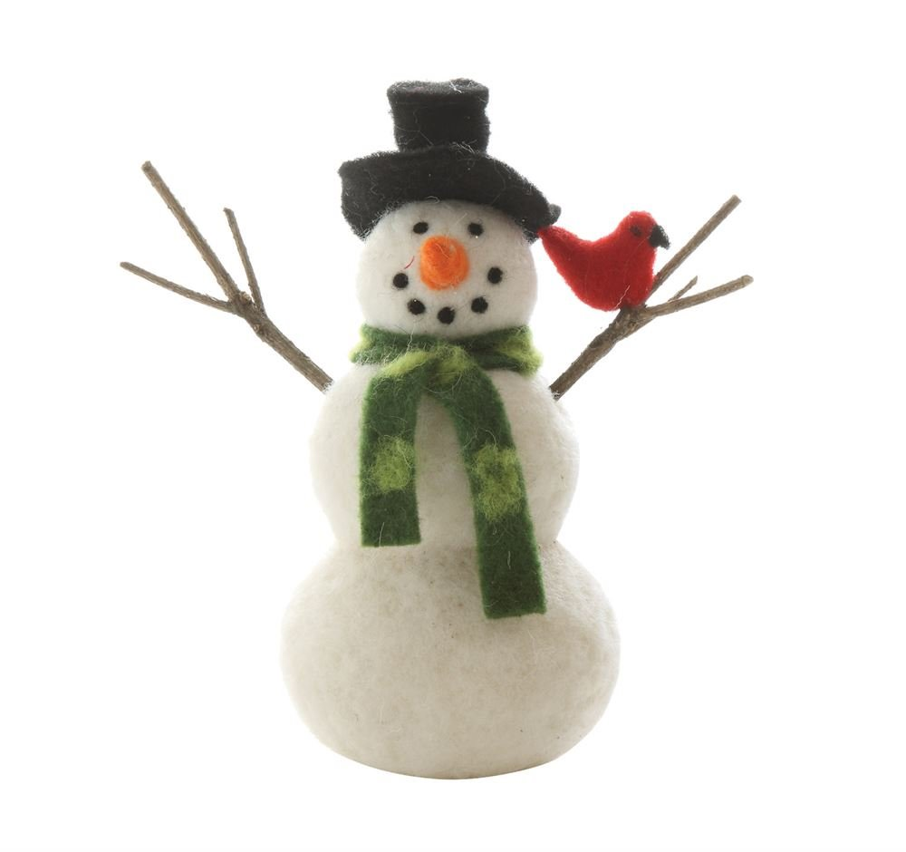 "Charming Wool Felt Snowman 7.5"""