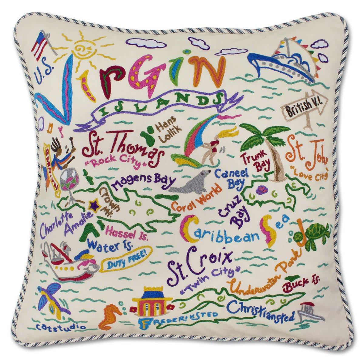 U. S. Virgin Islands Hand Embroidered Pillow by Catstudio
