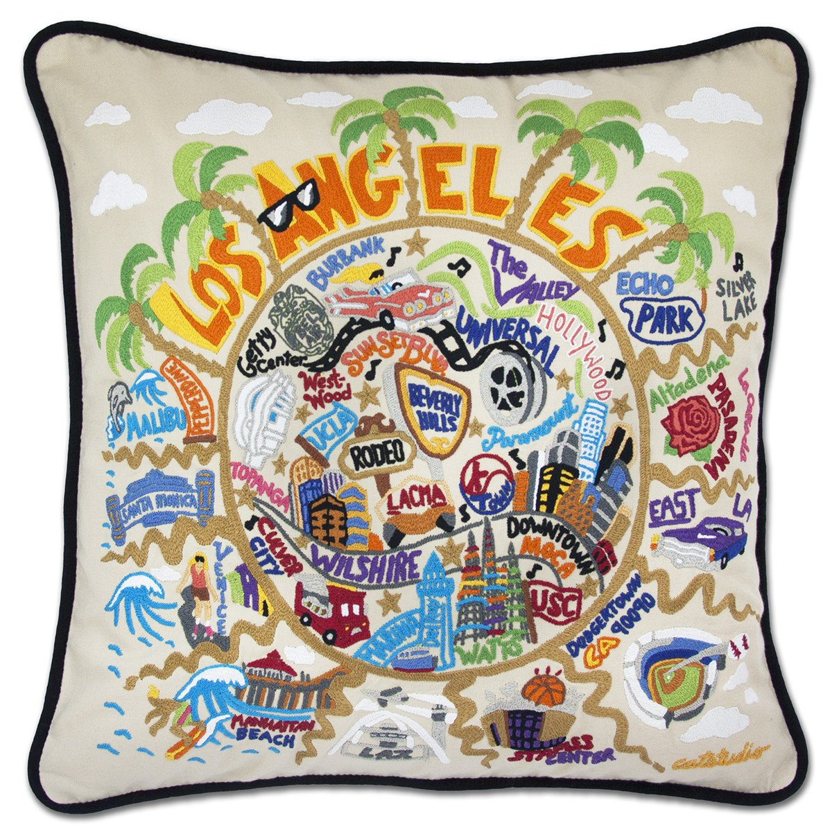 Los Angeles Hand Embroidered Pillow by Catstudio