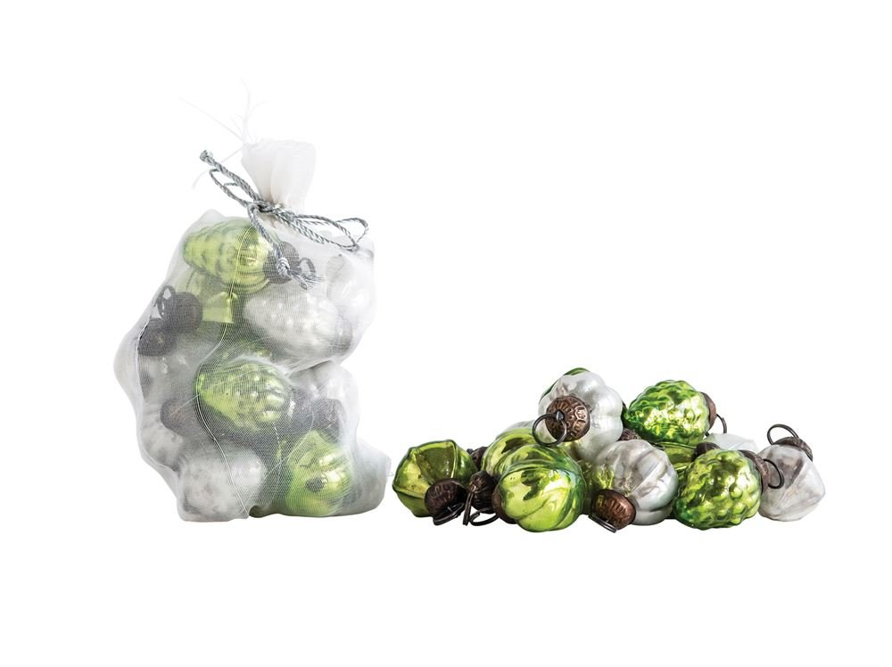 Mercury Glass Ornaments Set of 36: Green and Silvery White