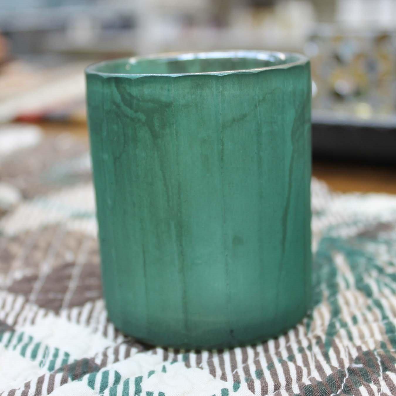Emerald Green Marbled Glass Votive Holder