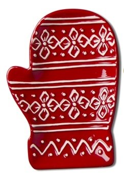 Red Mitten Small Earthenware Dish