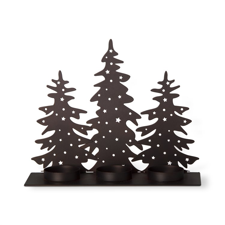 Three Trees Antiqued Bronze Tealight Holder