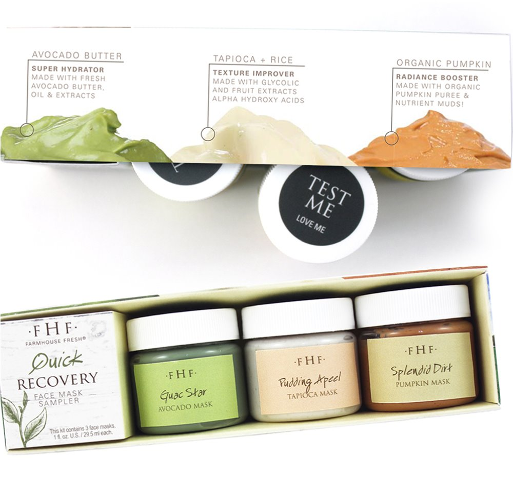 Farmhouse Fresh Quick Recovery Face Mask Sampler (3X 1 oz jars)