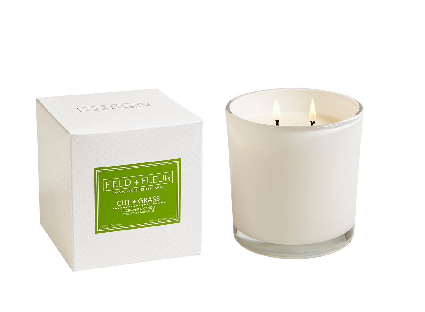 FIELD + FLEUR Cut Grass 2 Wick Candle In White Glass 12 oz