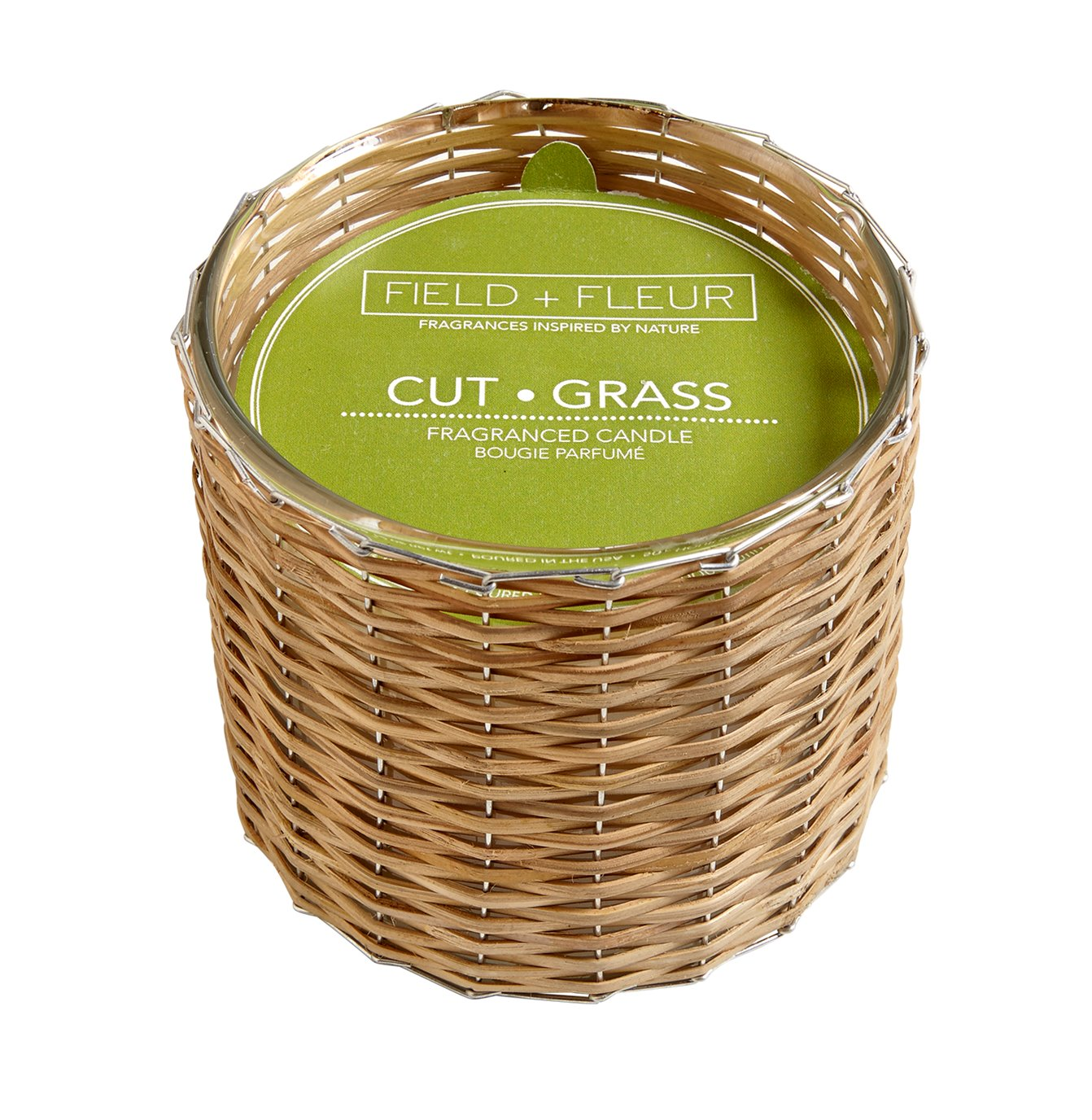 FIELD + FLEUR Cut Grass 2 Wick Handwoven Candle 12 oz