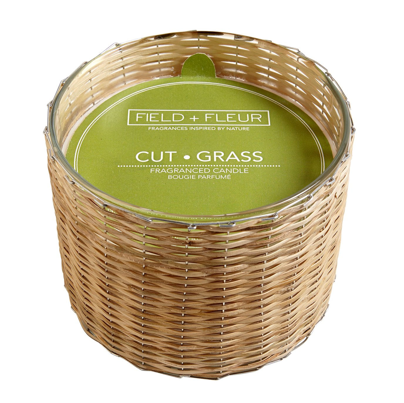 FIELD + FLEUR Cut Grass 3 Wick Handwoven Candle 21 oz