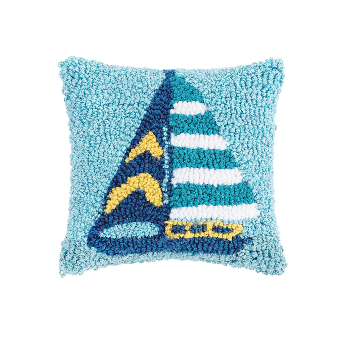 Hooked Sailboat Stripe Pillow