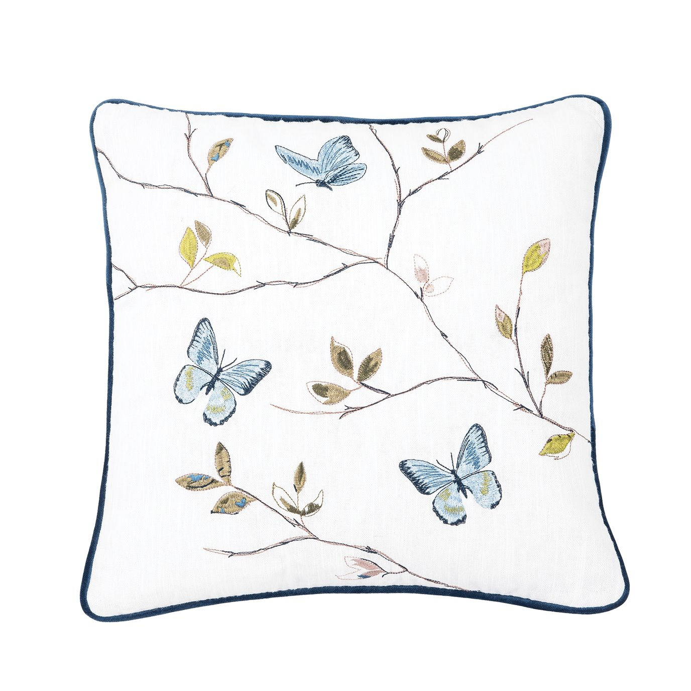 Embroidered Butterfly Branch Pillow
