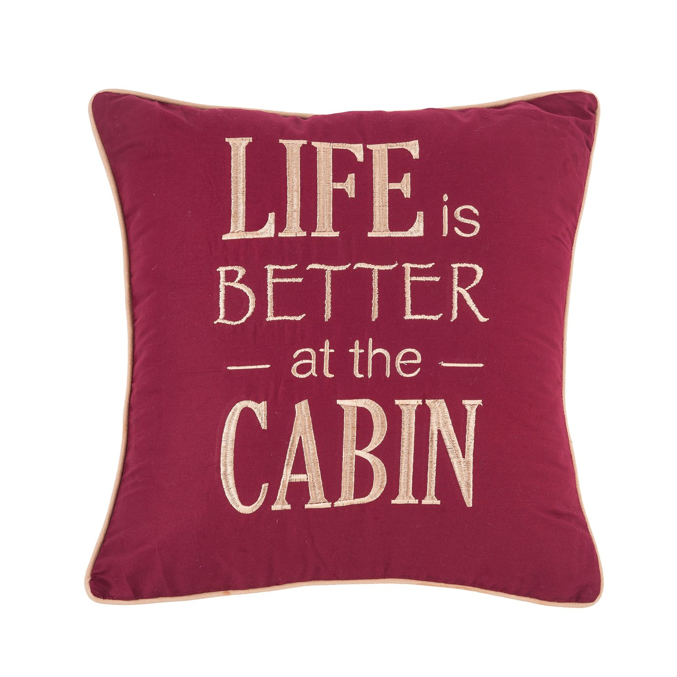 Life is Better At The Cabin Embroidered Pillow