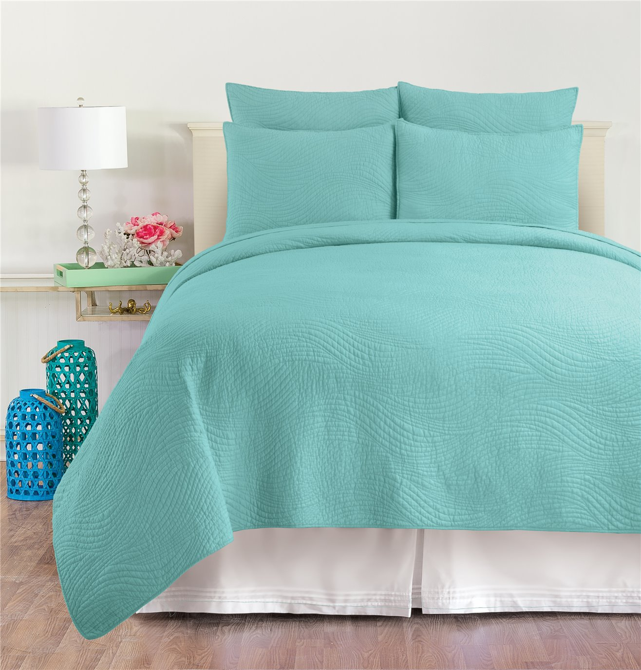 Tranquil Waves Aqua Twin Quilt Set