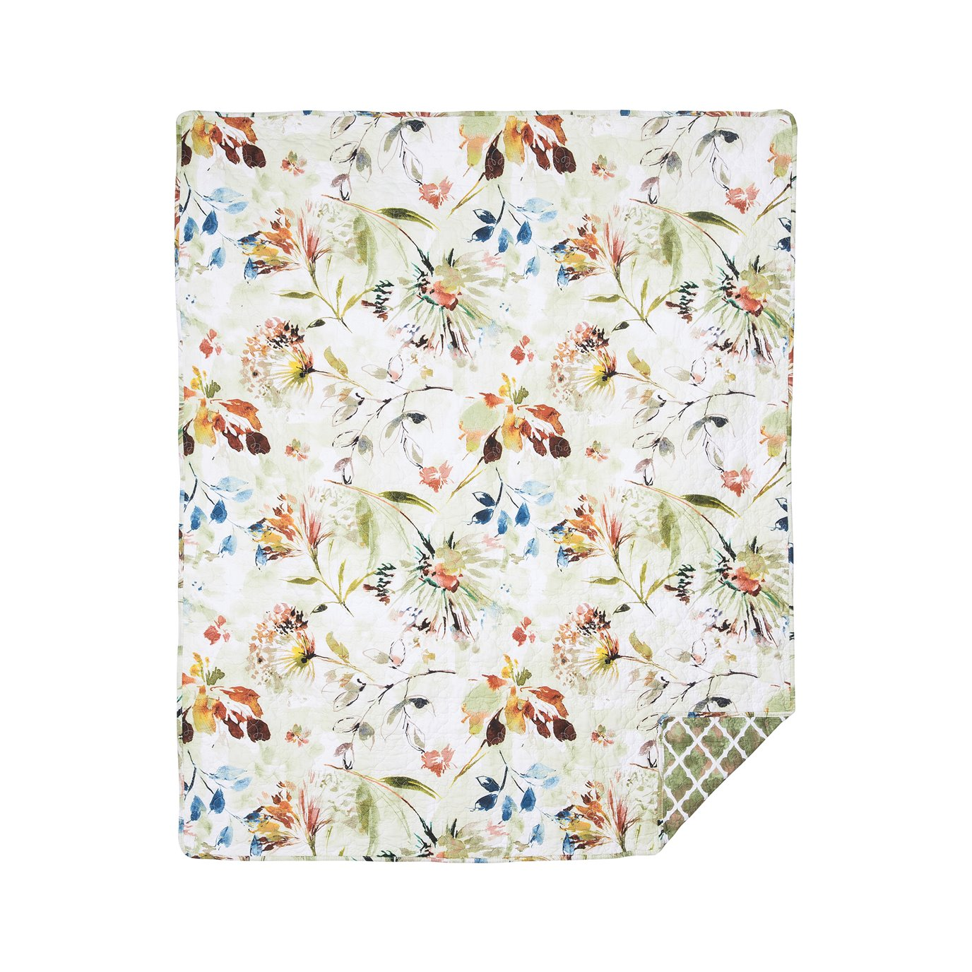 Watercolor Floral Quilted Throw