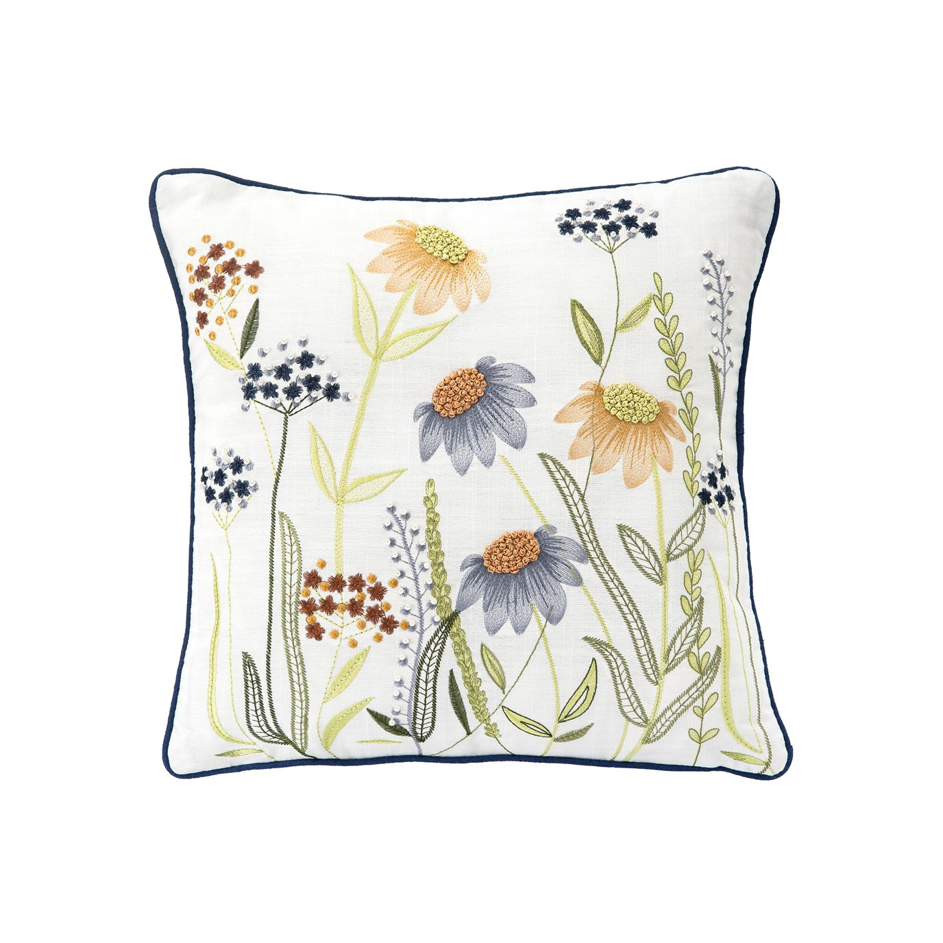 Embroidered Flower Field Pillow with French Knots