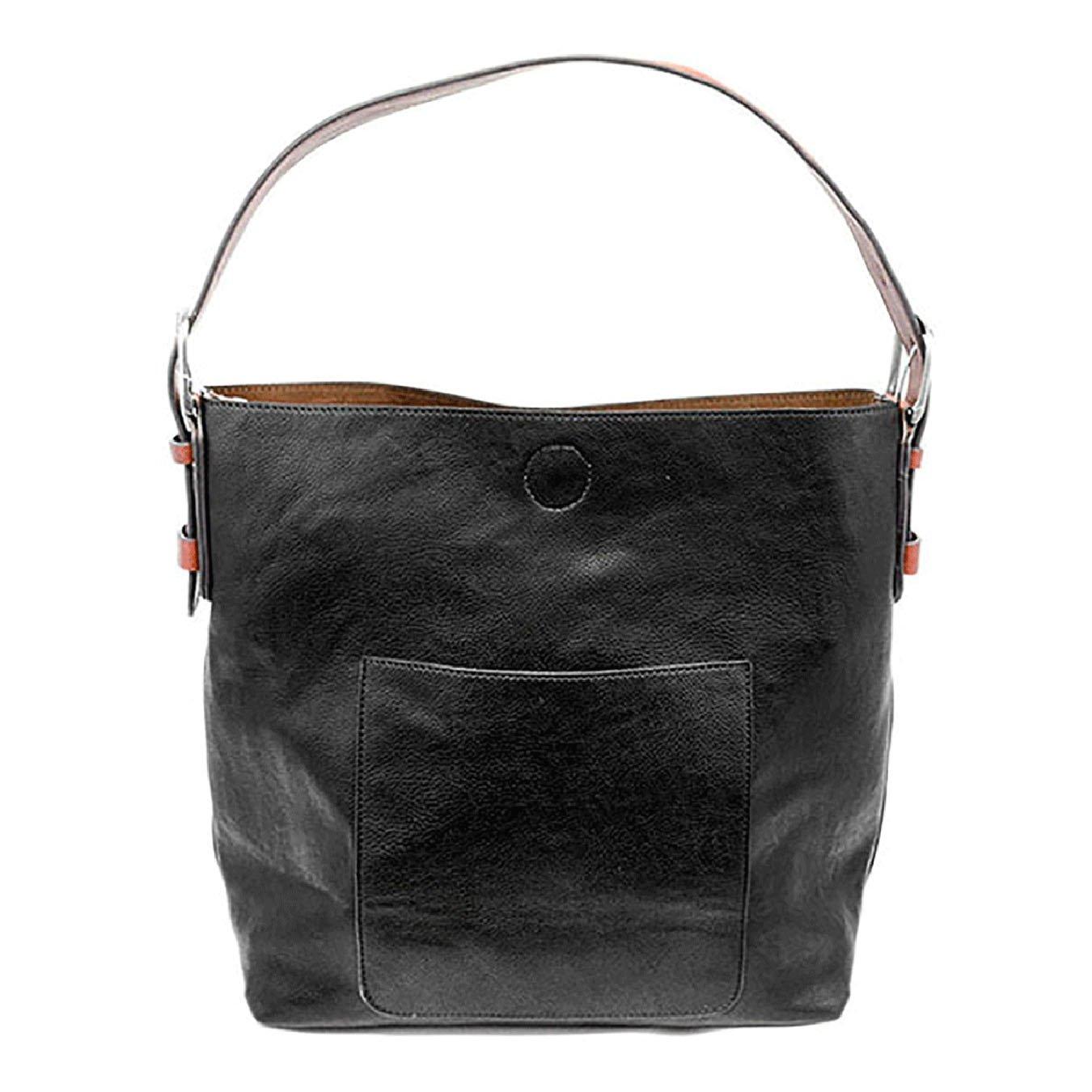 Black- Cedar Handle Hobo Handbag