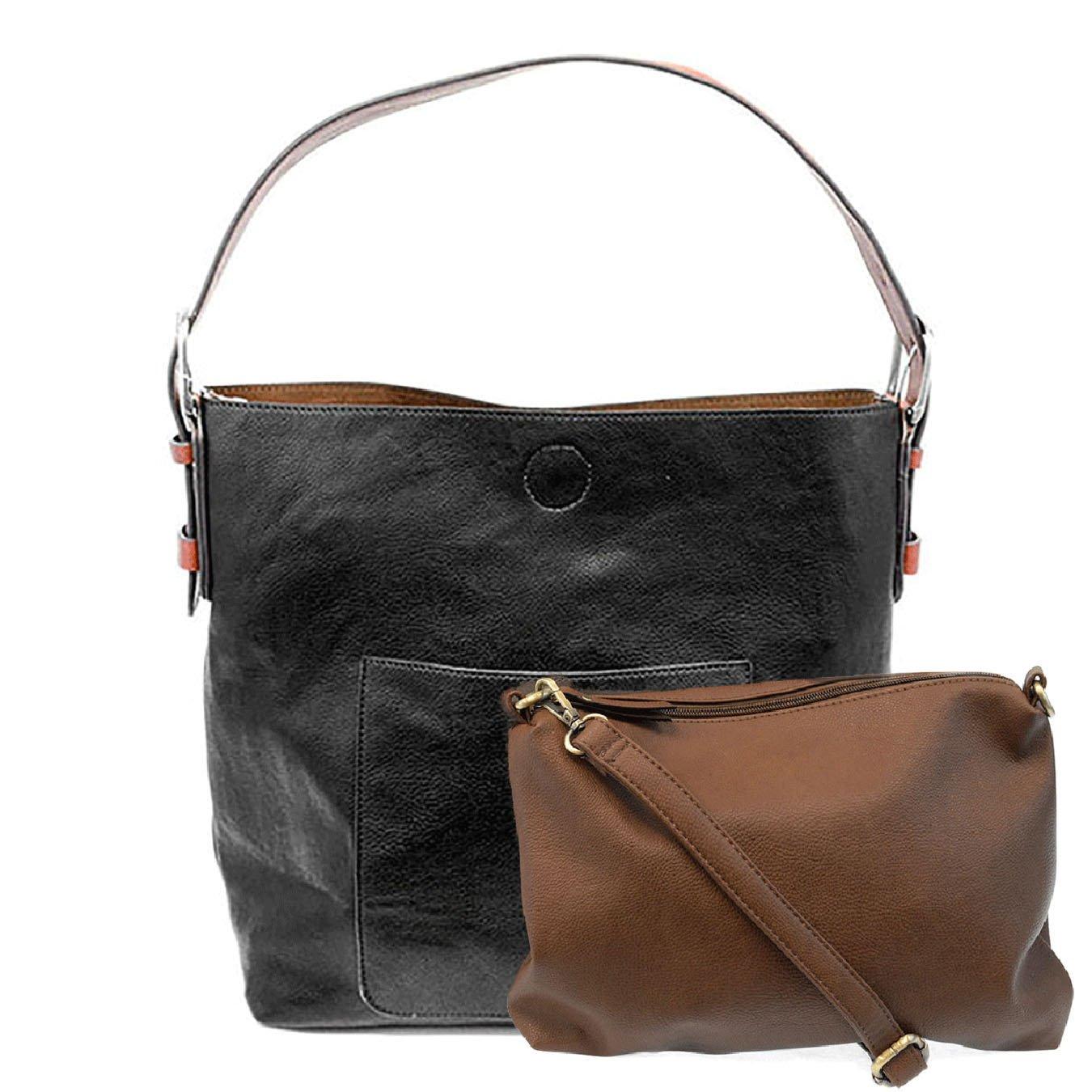 Black Cedar Handle Hobo Handbag By Joy Susan Vegan Leather