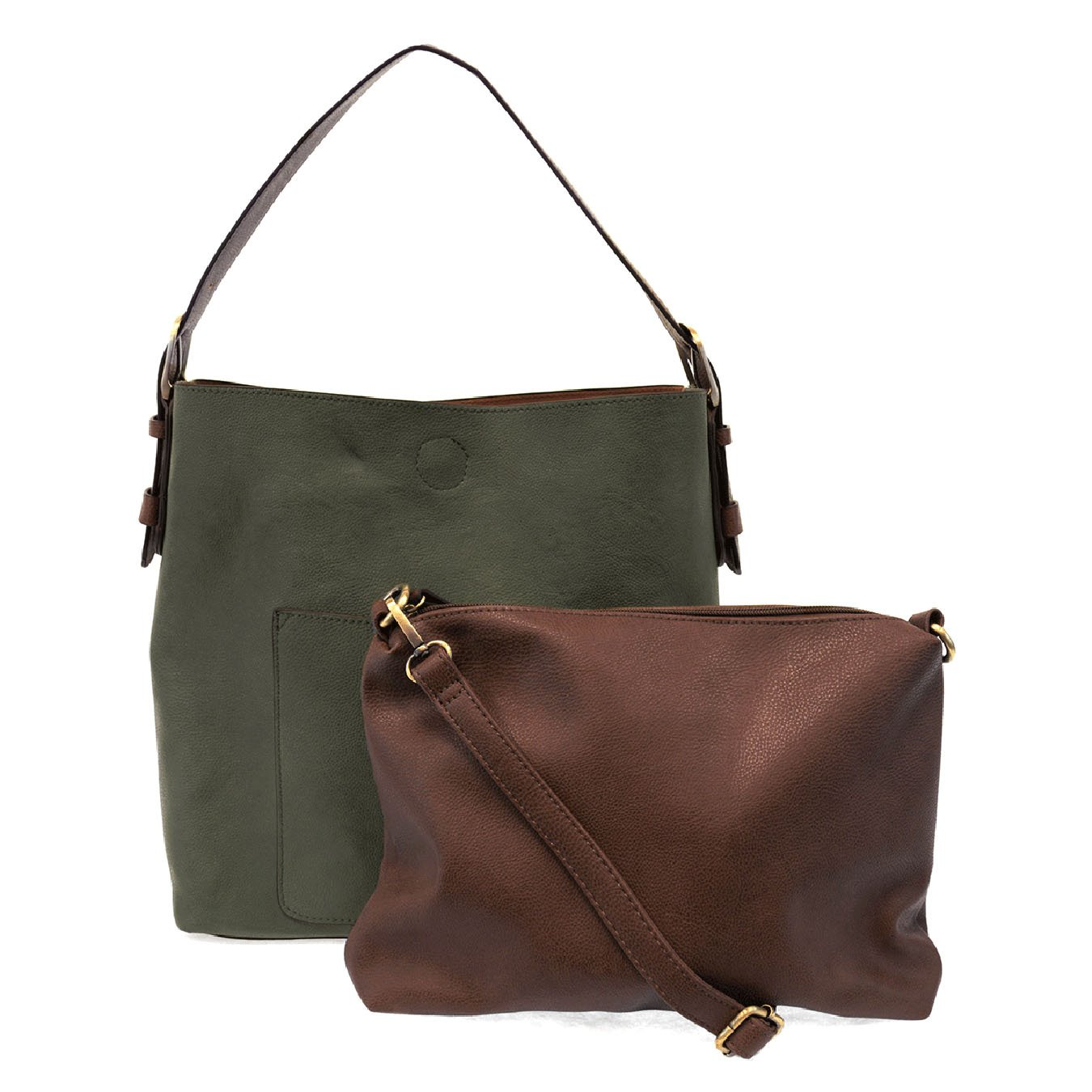 Dark Olive Hobo Handbag With Coffee Handle By Joy Susan Vegan Leather
