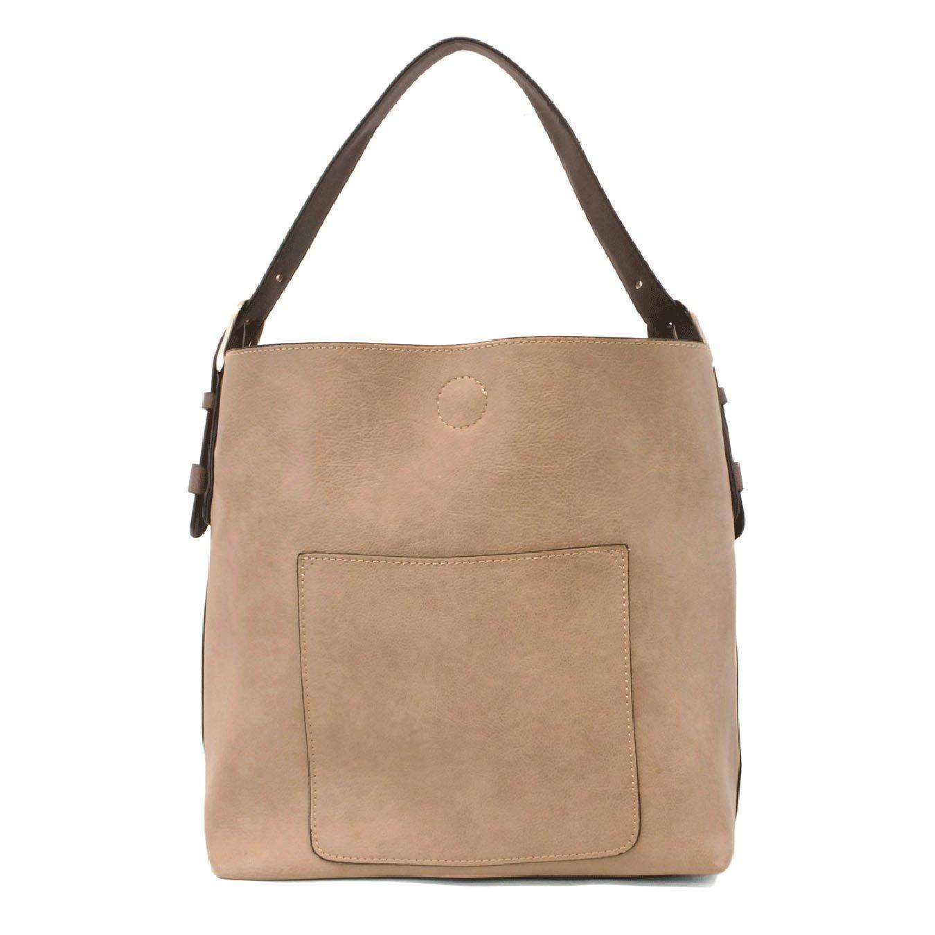 Heathered Grey Hobo Handbag with Coffee Handle