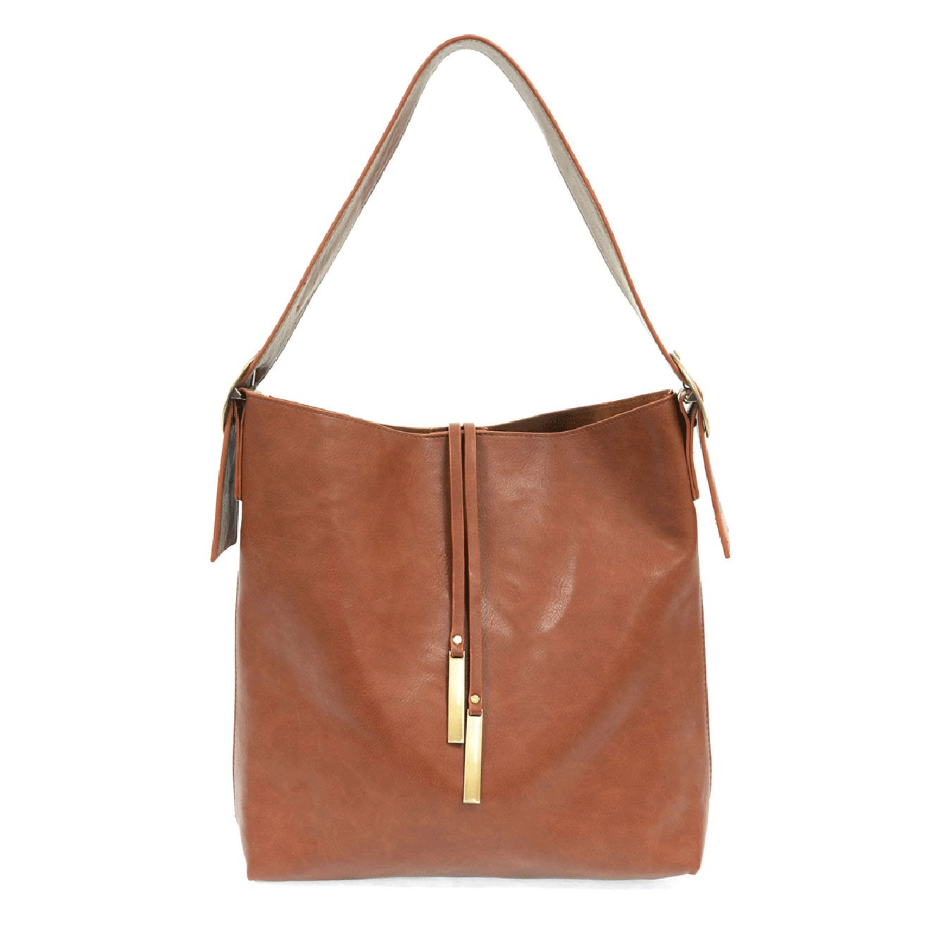Cognac Jillian Hobo Handbag with Tassel