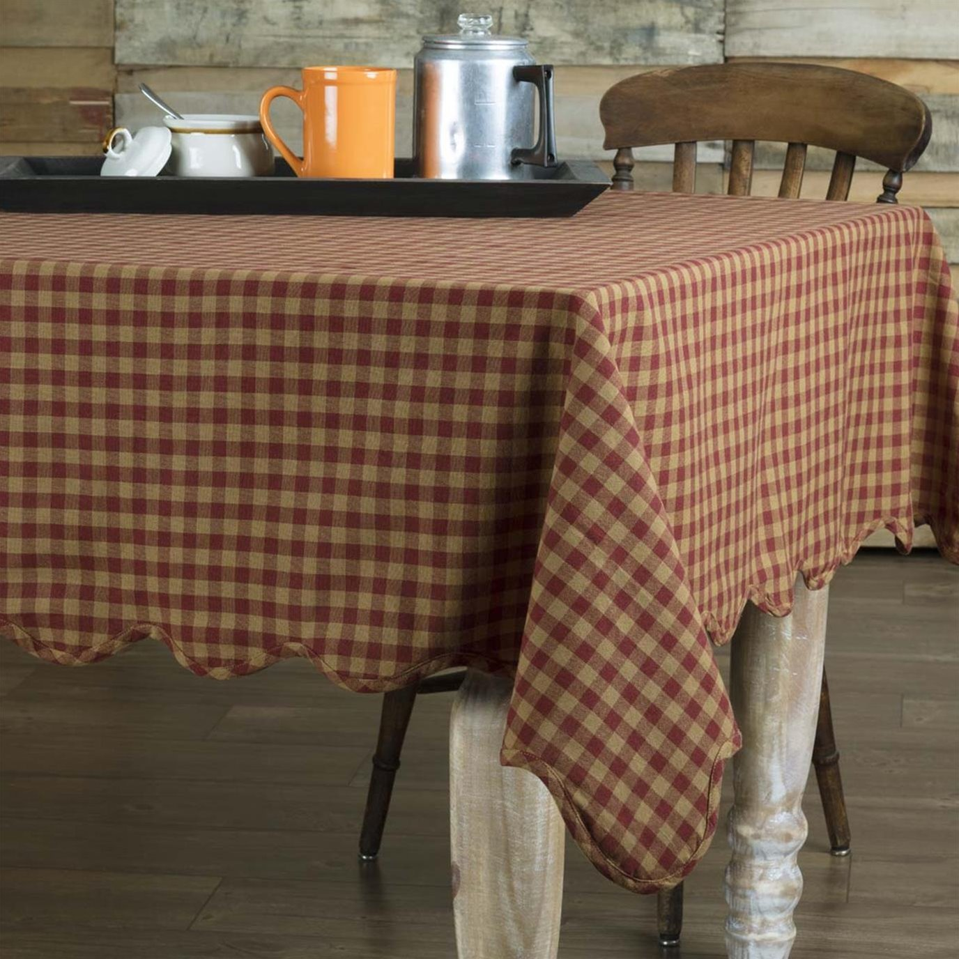 Burgundy Check Scalloped Table Cloth 60x102