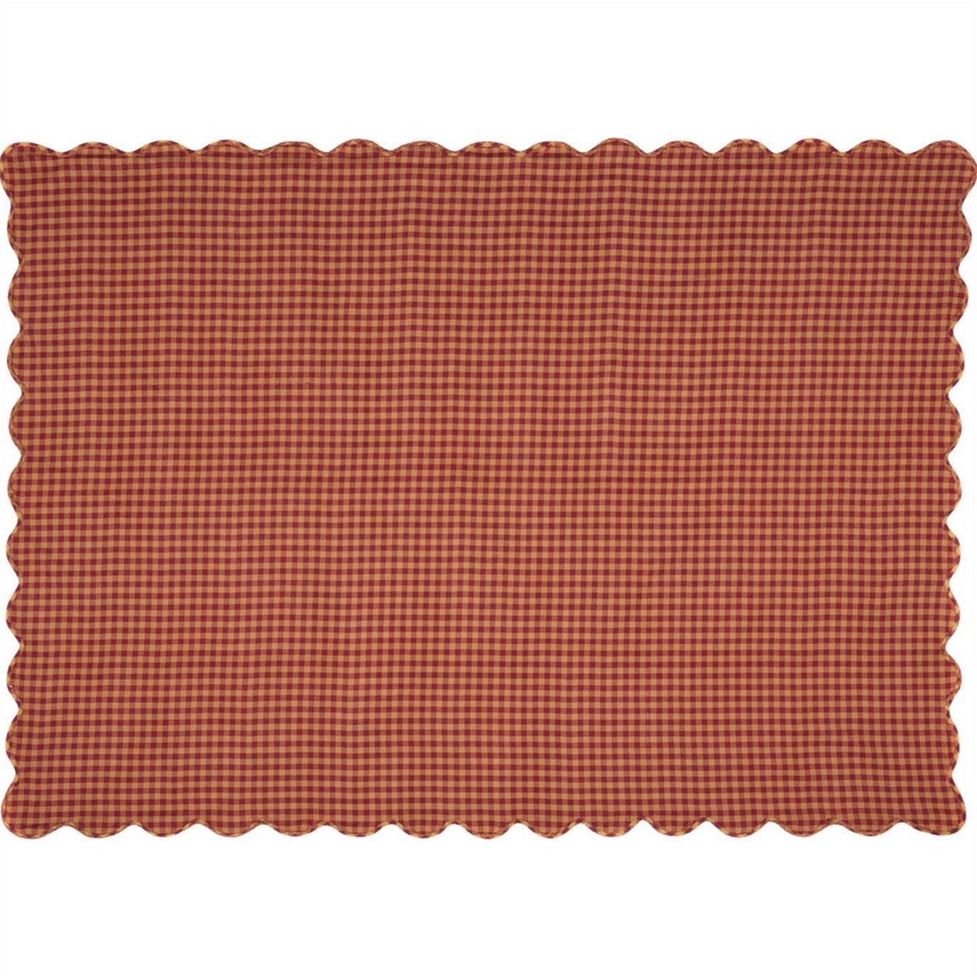 Burgundy Check Scalloped Table Cloth 60x80