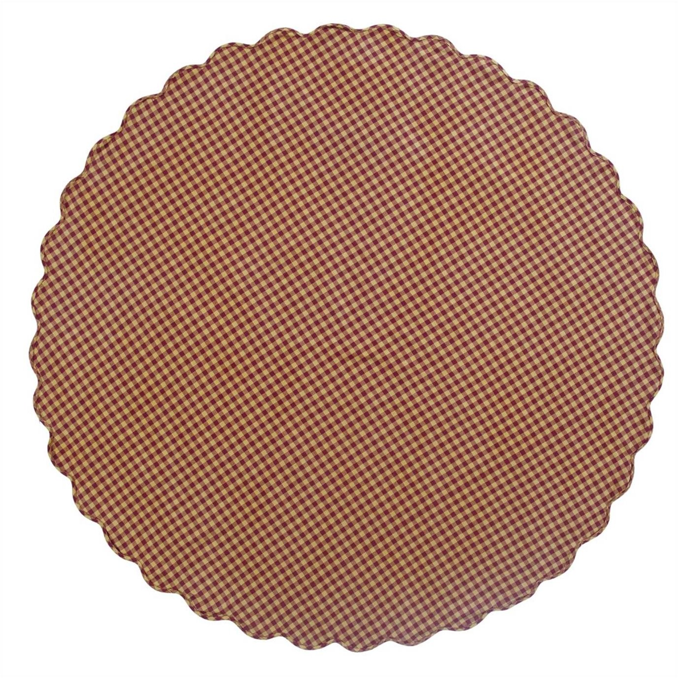 Burgundy Check Scalloped Table Cloth 70 Round