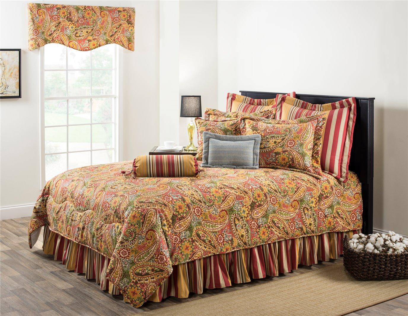 """Breeze Tapestry Queen Comforter Set (15"""" Bedskirt)"""