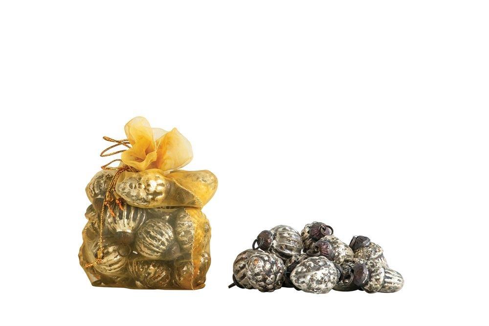 Mercury Glass Ornaments Set of 35: Antique Silver